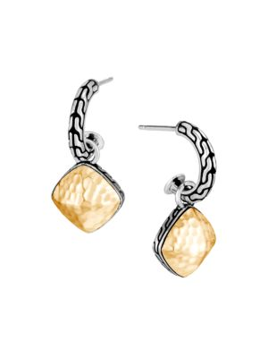 Classic Chain 18K Yellow Gold & Sterling Silver Hammered Drop Earrings