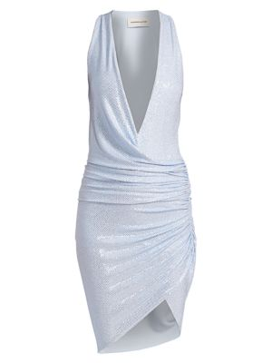 Micro-Crystal Deep V-Neck Faux Wrap Dress