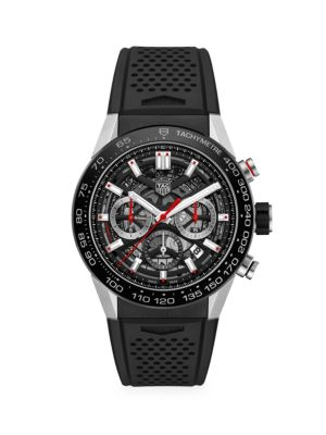 Carrera 45MM Stainless Steel & Ceramic Rubber Strap Automatic Chronograph Watch