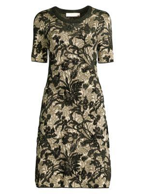 Floral Lurex Fit-&-Flare Dress