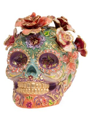 Catrina Skull With Roses 14K Yellow Goldplated Stainless Steel & Swarovski Crystal Figurine