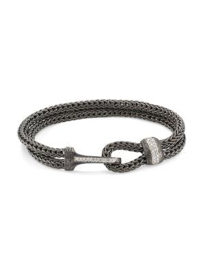 Classic Chain Black Rhodium-Plated Sterling Silver & Diamond Pavé Medium Bracelet