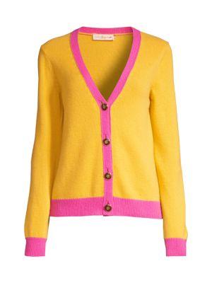 Contrast-Trim Cashmere Cardigan Sweater