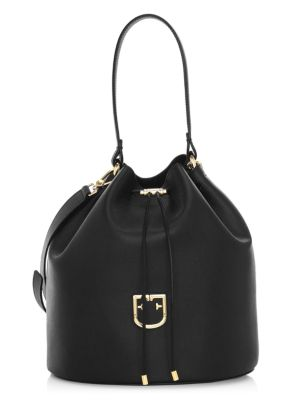 Medium Drawstring Leather Bucket Bag