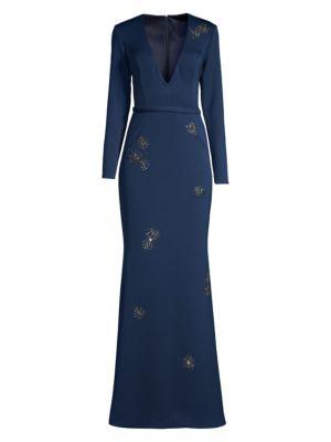 Embellished V-Neck Crepe Gown