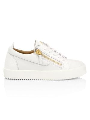 Gail Double-Zip Leather Sneakers