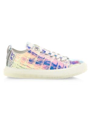 Blabber Iridescent Croc-Embossed Leather Sneakers