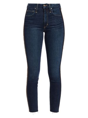 Charlie Sequin Stripe Skinny Ankle Jeans