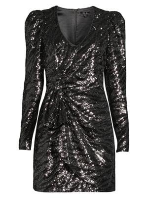 Virginia Sequin Faux Wrap Dress