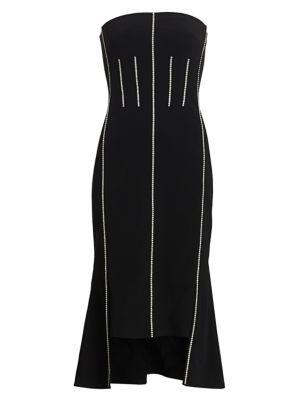 Crystal Corset Strapless Midi Dress