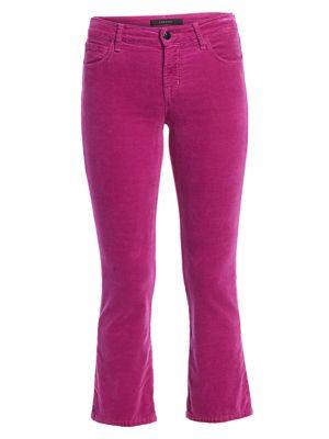 Selena Mid-Rise Velvet Bootcut Jeans