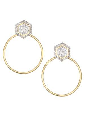 Diu 18K Yellow Gold Vermeil, Sliced Raw Diamond & Pavé Champagne Diamond Stud Hoop Earrings