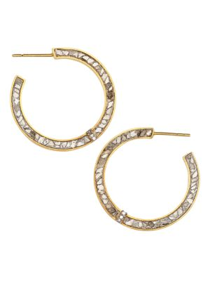 Riley 18K Yellow Gold Vermeil, Sliced Raw Diamond & Pavé Champagne Diamond Hoop Earrings