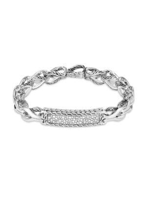 Asli Classic Chain Diamond Plaque Sterling Silver Bracelet