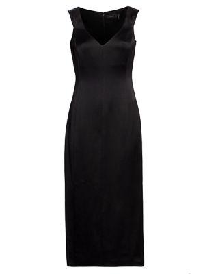 Deep V-Neck Off-the-Shoulder Wool Sheath Dress