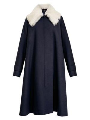 Lamb Fur Collar Virgin Wool-Blend Cloak