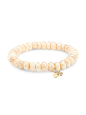 Large 14K Yellow Gold, Moonstone & Diamond Protection Charm Beaded Bracelet