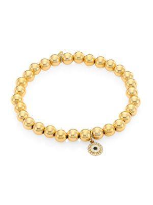 14K Yellow Gold & Diamond Evil Eye Charm Beaded Bracelet
