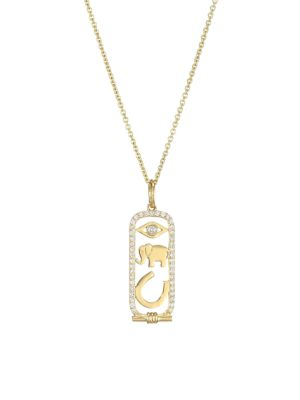 14K Yellow Gold & Diamond Luck And Protection Pendant Necklace