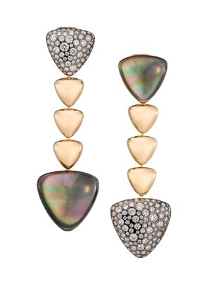 Freccia 18K Rose Gold, Grey Mother-Of-Pearl, Rock Crystal Quartz & Diamond Linear Earrings