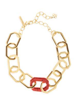 Goldtone & Carnelian Elongated Octagon Link Choker Necklace