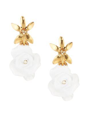 Resin Rose Goldtone Drop Earrings