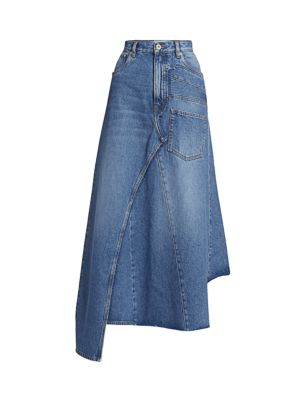 Asymmetric Denim Midi Skirt