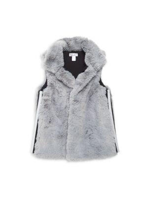 Little Girl's Lurex Stripe Faux Fur Vest