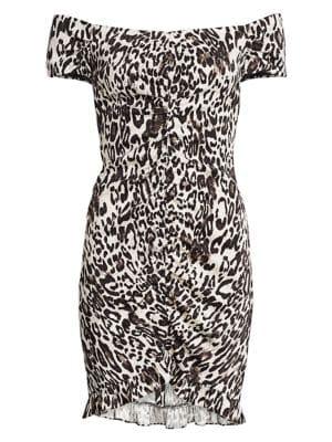 Ella Leopard Off-the-Shoulder Bodycon Dress