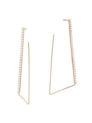 Flawless Diamond 14K Yellow Gold Geometric Hoops