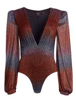 Rainbow Lurex Long-Sleeve Bodysuit