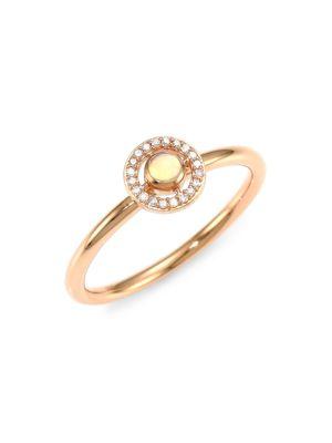 14K Rose Gold, Opal & Diamond Ring