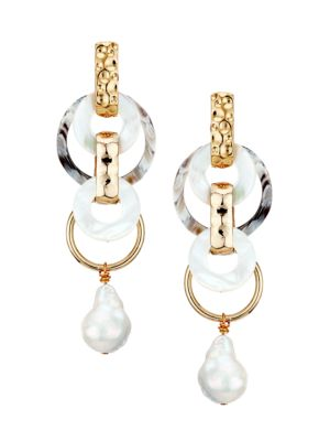 18MM Baroque Pearl, Mother-Of-Pearl & Horn Chain-Link Earrings