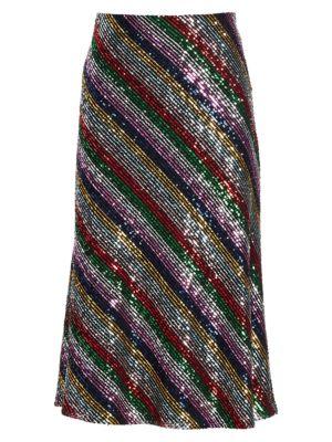 Rainbow Multistripe Sequins Bias Skirt