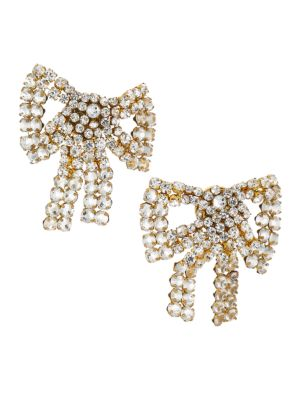 Tie Me Up Crystal Bow Clip-On Earrings