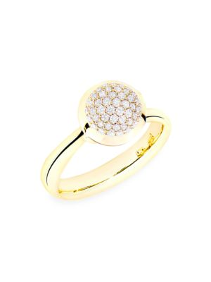 Bouton 18K Yellow Gold & Diamond Pavé Small Ring