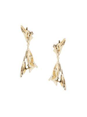 Crumpled 10K Goldplated Drop Earrings