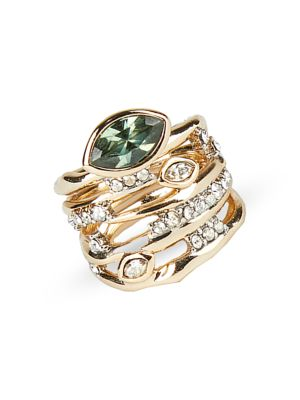 Asteria Nova Green Tourmaline & Crystal Layered Ring