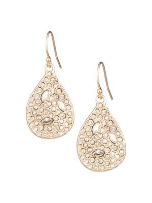 10K Yellow Goldplated & Crystal-Encrusted Teardrop Earrings