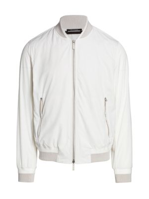 Seersucker Zip-Up Bomber Jacket