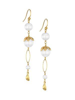 18K Goldplated Sterling Silver & 4-10.5MM Pearl Linear Earrings