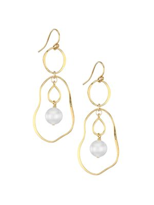 18K Goldplated Sterling Silver & 10-10.5MM Pearl Double-Hoop Earrings