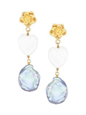 18K Goldplated, 13-14MM Peacock Pearl & Mother-Of-Pearl Heart Drop Earrings