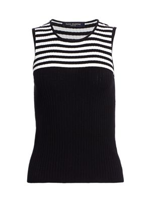 Sleeveless Knit Stripe Top