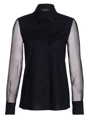 Organza-Sleeve Stretch Cotton Blouse