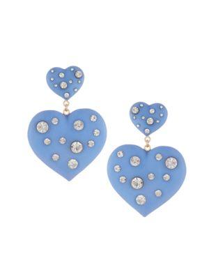 Amante Resin & Crystal Heart Drop Earrings