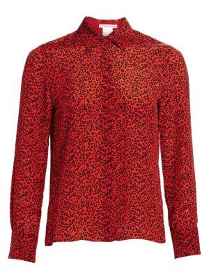 Willa Leopard Print Silk Blouse
