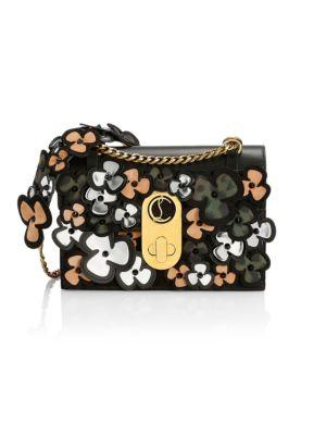 Small Elisa Pansy Appliqué Leather Shoulder Bag