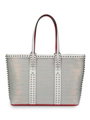 Small Cabata Spiked Metallic Mesh & Leather Tote