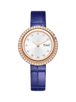 Possession 18K Rose Gold & Diamond Bezel Blue Alligator Strap Watch